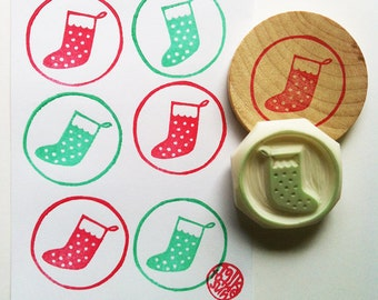 christmas stocking stamp, sock circle hand carved rubber stamp, diy xmas scrapbooking, gift wrapping, winter holiday crafts