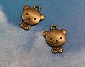 10 teddy bear charms, bronze tone, 13mm