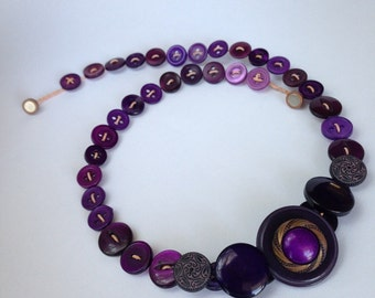 Deep purple button necklace.