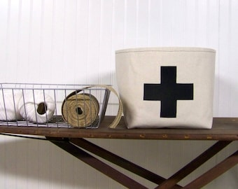 swiss cross basket / black / canvas basket / home decor / organization / storage basket / gift basket / fabric basket / black sw