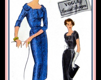Vintage 1957- Elegant Couture Style Dress-Vogue Special Design-Sewing Pattern-Unique U Shaped Bodice-Low Collar-Size 10- Rare- Collectible
