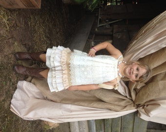 Drop Waist Tiered Dress.. Perfect Flower Girl or Special Occasion dress .. Country Wedding .. Rustic Wedding