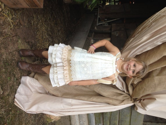 Drop waist tiered dress perfect flower by abushelandapeckbiz for Country wedding flower girl dresses