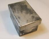 """Silver and Black Paper Mache 2.75"""" x 2"""" x 1.5"""" Gift Box"""