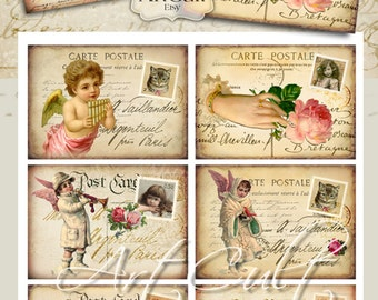 Printable digital Download Gift Tags VINTAGE SPIRIT POSTCARDS  Digital Collage Sheet Jewelry Holders for scrapbooking Paper Craft by ArtCult