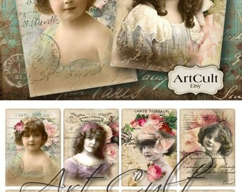 Digital Collage Sheet LITTLE LADIES Gift tags Printable images Vintage ephemera paper goods ArtCult downloadable print-it-yourself graphics