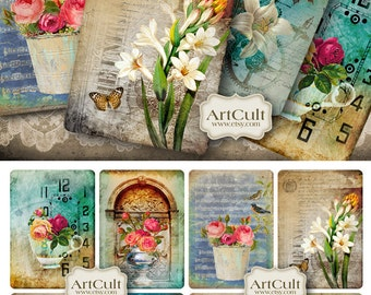 Printable Images FLORAL RECITAL Gift TAGS Digital Collage Sheet Jewelry Holders Vintage Victorian Paper scrapbooking clip art ArtCult