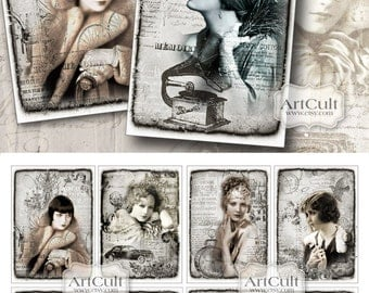 Gift Tags SILVER DREAM 2.5x3.5 inch size images Digital Collage Sheet Printable download vintage style models scrapbooking paper hang tags