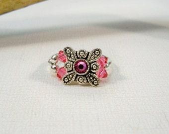 Pink Swarovski Stretch Ring, Valentine's Day Gift, Crystal Stretch Band Ring, Pink RIng, Crystal Ring, Womens Jewelry
