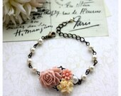 Soft Dusty PInk Rose, Ivory Floral, Pink Mum, Pearl Flowers Collage Bracelet. Wedding Bracelet Jewelry. Country Pink. Bridesmaids Gift.