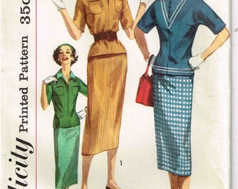 Sheath Skirt Kimono Sleeve Tunic Top Simplicity 2180 Vintage 1950s Sewing Pattern Misses Size 12 Bust 32
