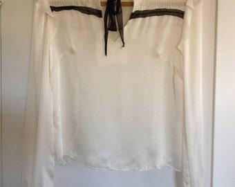 Maria Marta Facchinelli White Silk Blouse With Black Lace Tie
