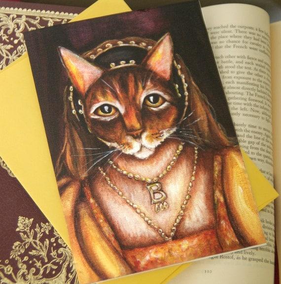 Anne Boleyn Cat Greeting Card, Abyssinian Cat Dressed as Tudor Queen, 5x7 Blank Card