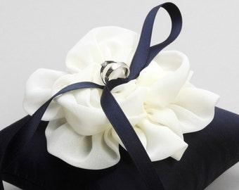 Navy blue ring pillow, something blue pillow, ring holder, wedding decor - Adina