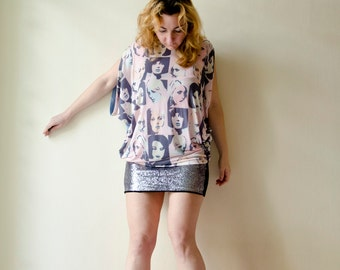 Oversized Blouse with Warhol inspired prints, Graphic Summer  Top
