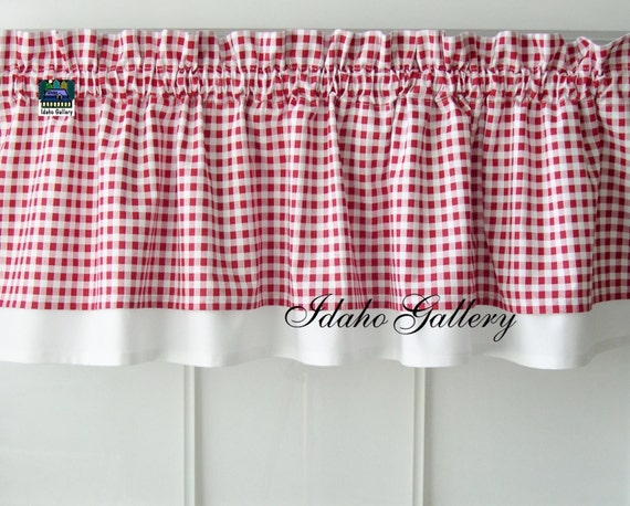 Curtain red white check gingham double layered kitchen curtain valance