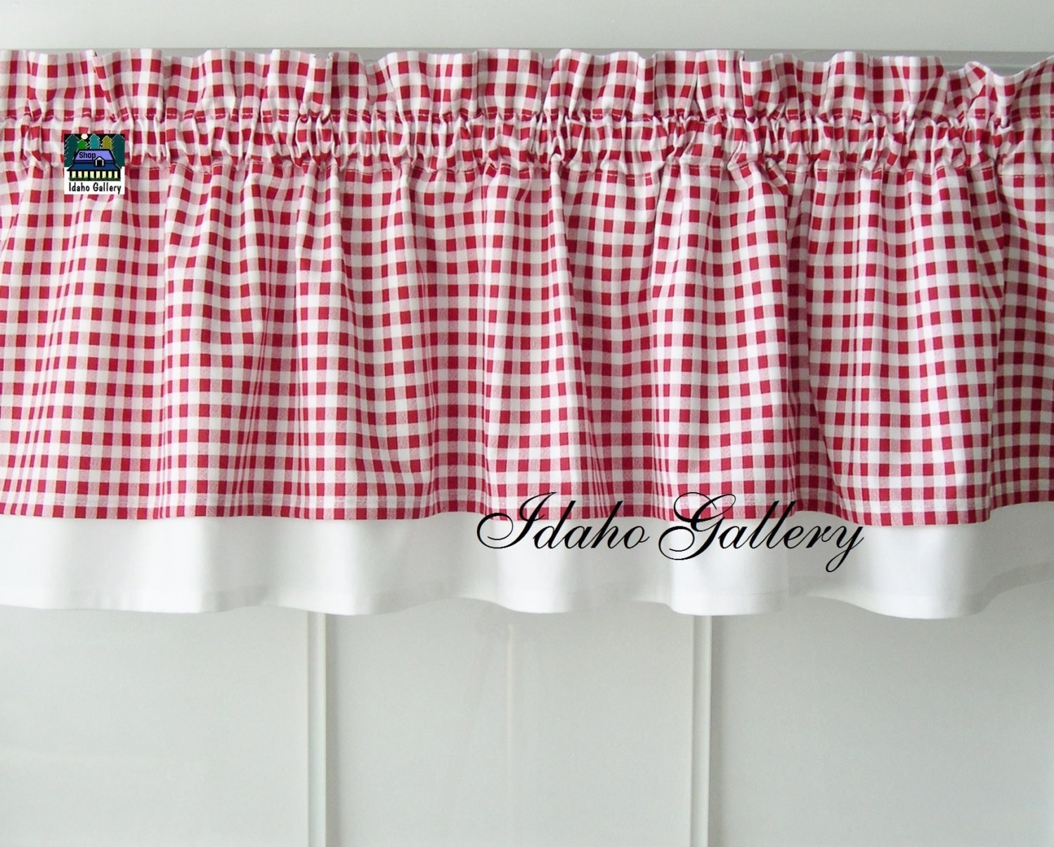 Curtain Red White Check Gingham Double Layered Kitchen Curtain