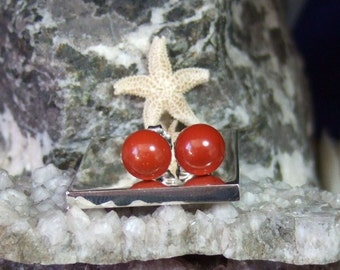 Red Jasper 8mm Stud Earrings Earings Titanium Posts and Clutches Hypo Allergenic Made in Newfoundland Red