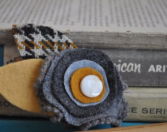 UPcycled Wool Felt Flower Brooch with Vintage Mother of Pearl Button - Yellow and Gray Tweed