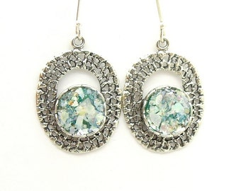 Round roman glass set in oval silver earrings