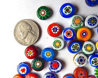 Vintage Millefiori Glass Beads (10)