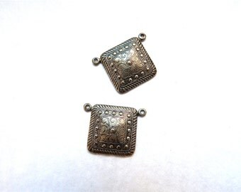 Square Metal Stampings Plated Silver x 2