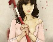 Slaughterhouse Starlets - Zooey Deschanel Print