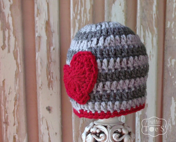 Crochet Valentine Baby Hat, Boy Valentines Day Hat, Gray Red ...