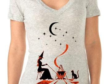 halloween tshirt - halloween shirt - witch tshirt - vintage halloween - halloween costume - womens tshirt - GYPSY WITCH - deep v-neck tshirt