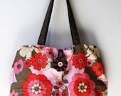 Vintage Pink Floral Tote Market Bag