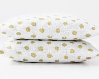 Gold Dot Lavender Sachets - White and Gold Bedroom Decor - Girlfriend Gift