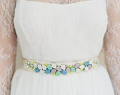 "Quirky multi color wedding sash in purple, blue, chartreuse & crystal ""Francesca"""