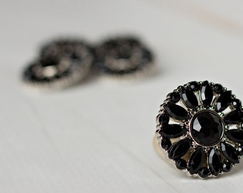 5 Rhinestone Buttons - Black Button - Amy Button - 28mm - Plastic Buttons - Acrylic Buttons -