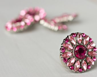 5 Rhinestone Buttons - Hot Pink / Light Pink Buttons - Amy Button - 28mm - Plastic Buttons - Acrylic Buttons