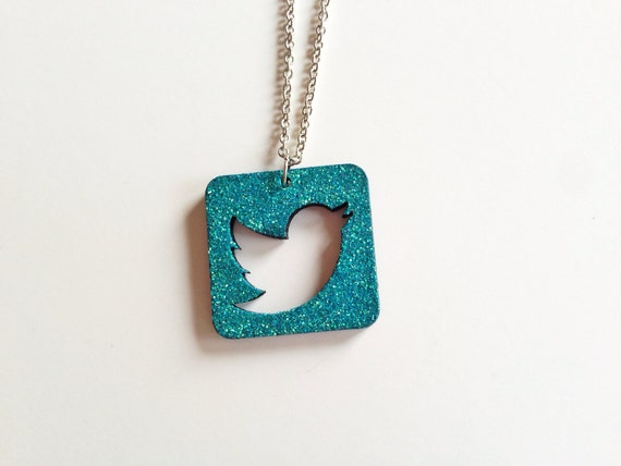 Teal glitter Twitter icon necklace