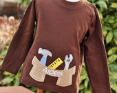 Personalized Boy's Tool Belt Applique Shirt - Just Like Dad
