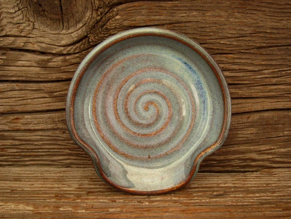 Spoon Rest in Rustic Iron Blue - Pottery Spoon Rest - by DirtKicker Pottery