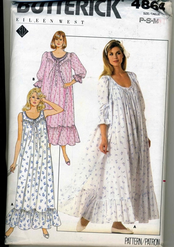 Vintage UNCUT Butterick 4864 Misses' Nightgown or Robe Sewing Pattern By Ellen Tracy Size P-M