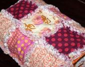 Baby Girl Rag Quilt Blanket - Pink Peach Red Orange Designer Snuggle Quilt Blanket - 35x27 - Reversible - OOAK Ready to Ship