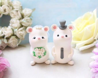 Rustic wedding cake toppers Mice - mouse country bride and groom figurines personalized cute elegant wedding gift decorations white decor