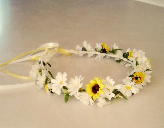 sunflower daisy flower crown yellow hair wreath by amorebride. Black Bedroom Furniture Sets. Home Design Ideas