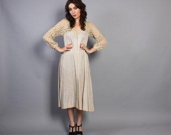 1970s METALLIC CROCHET Knit  DRESS / Semi Sheer Gold Tent Dress