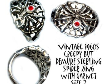 Ring ~ Small Openwork Sterling Silver Spider in Web