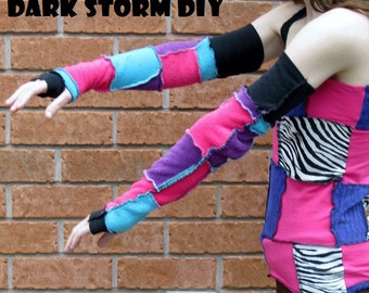 SALE Patchwork Fingerless Gloves DIY Fleece Arm Warmers