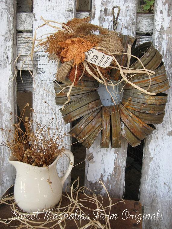 Fall Wreath Canning Jar Lids Rustic Farmhouse Style