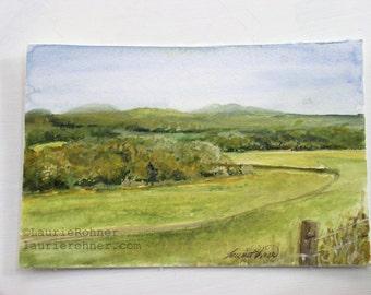 Nature Art Landscape Watercolor Painting Vermont Picturesque Scene Original