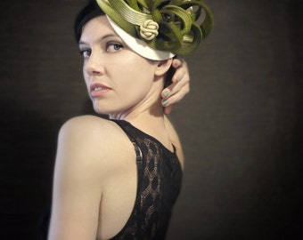 Ombre Green/Cream Felt Hat With Burgundy Stitching - Medusa - Made to Order