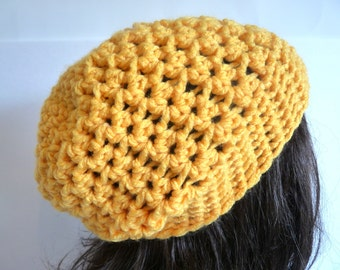 Crochet Slouchy Hat in Gold Yellow for the Fall and Winter