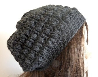 Crochet Slouchy Hat in Charcoal Grey, Sized for Teens and Women