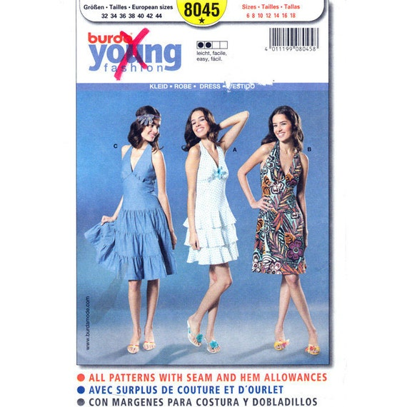Burda 8045 Halter Dress Pattern Flounce Tier or Flared Dress Womens Size 6 to 18